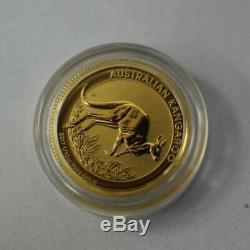 2017 Australia Kangaroo 1/10 oz. 9999 Fine Gold $15 Dollars Coin In Capsule
