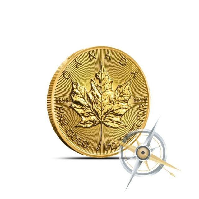 2018 1/10 Troy Oz Canada Gold Maple Leaf Coin. 9999 Fine Bu Sealed In Plastic