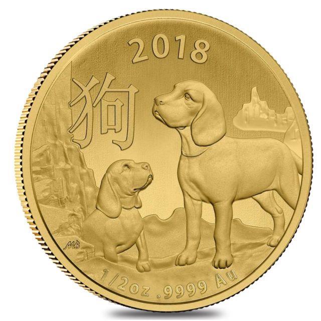 2018 1/2 Oz Gold Lunar Year Of The Dog Coin. 9999 Fine Bu Royal Australian Mint