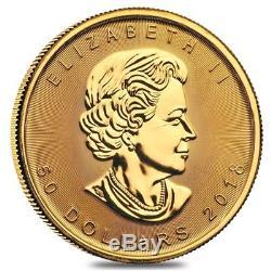 2018 1 oz Canadian Gold Maple Leaf $50 Coin. 9999 Fine BU