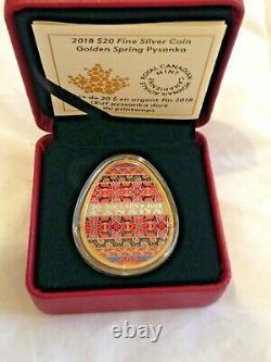 2018 $20 Fine Silver Coin Golden Spring Pysanka in Box With COA