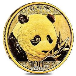 2018 8 Gram Chinese Gold Panda 100 Yuan. 999 Fine BU (Sealed)