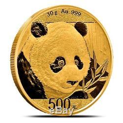 2018 China 30 Gram. 999 Fine 500 Yuan Gold Panda Coin BU Sealed in Mint Plastic