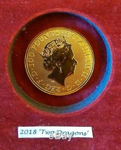 2018 Two Dragons 1oz 24ct Solid Fine Gold Coin UK Mint Uncirculated 31.1 Grams