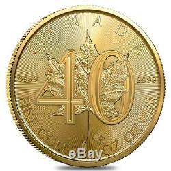 2019 1 oz Gold Canadian Maple Leaf 40th Anniversary. 9999 Fine $50 Coin BU