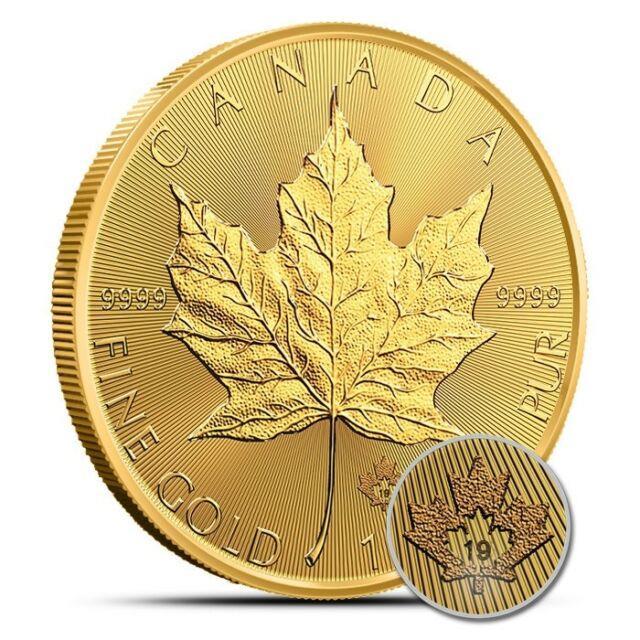 2019 Canada 1 Oz $50.9999 Fine Gold Maple Leaf Coin Gem Uncirculated (bu)