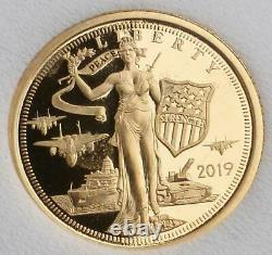 2019 Cook Islands $5 1/10 oz. 24 GOLD content 24% Liberty Bell. 240 Fine Coin