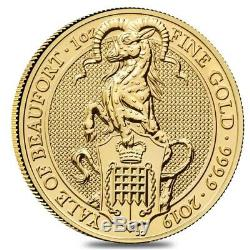 2019 Great Britain 1 oz Gold Queen's Beasts (Yale) Coin. 9999 Fine BU
