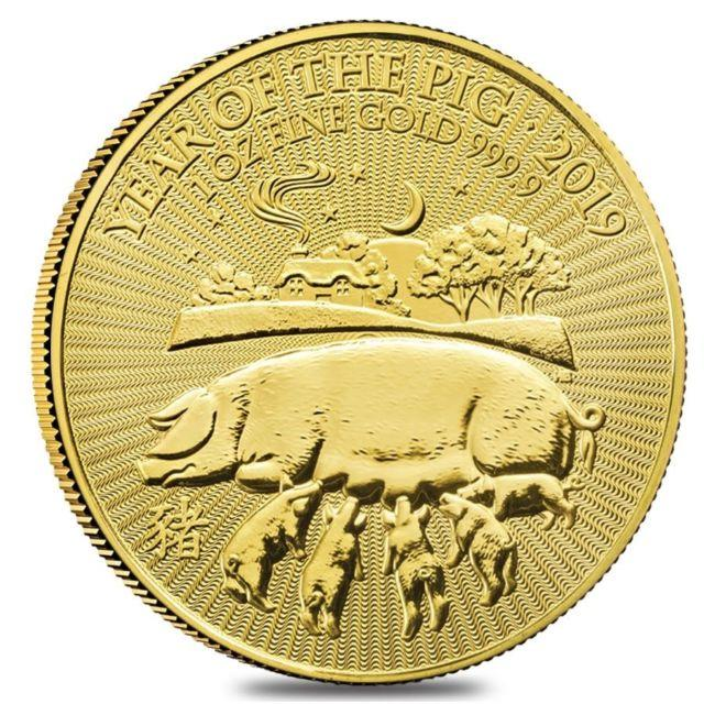 2019 Great Britain 1 Oz Gold Year Of The Pig Coin. 9999 Fine Bu