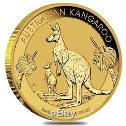 2020 1/10 oz Australian Gold Kangaroo Perth Mint Coin. 9999 Fine BU In Cap