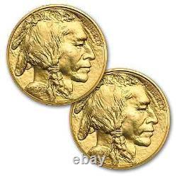 2020 1 oz Gold Buffalo Coin BU Lot of 2 Coins. 9999 Fine Gold US