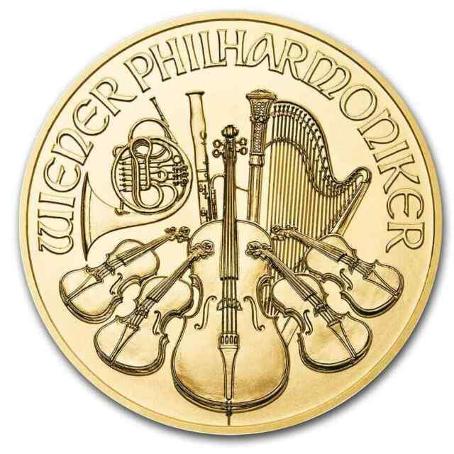 2020 Austria 100 Euros 1 Oz Gold Philharmonic. 9999 Fine Gold Bu