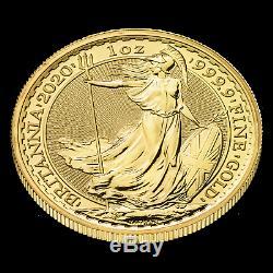 2020 Great Britain 1 oz Gold Britannia Coin BU. 9999 Fine Gold UK 100 Pounds