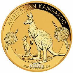 2020-P $100 1oz Australian Gold Kangaroo. 9999 Fine BU Perth Mint