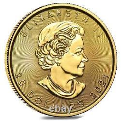 2021 1/2 oz Canadian Gold Maple Leaf $20 Coin. 9999 Fine BU (Sealed)