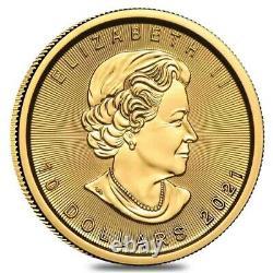 2021 1/4 oz Canadian Gold Maple Leaf $10 Coin. 9999 Fine BU (Sealed)