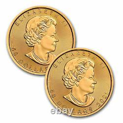 2021 Canada 1 oz Gold Maple Leaf BU. 9999 Fine RCM (Lot of 2 Coins)