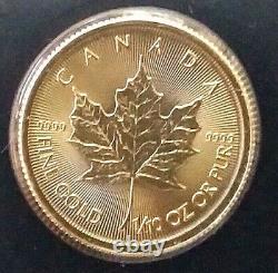 2021 Gold Canadian Maple Leaf 1/10 oz. Fine Gold. 9999 Gem Brilliant