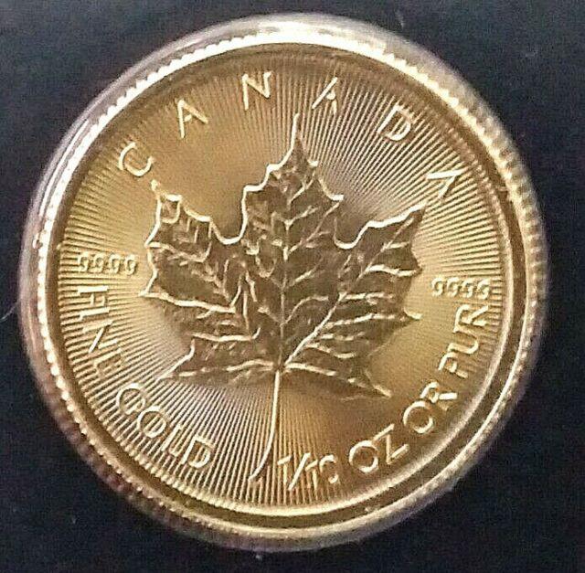 2021 Gold Canadian Maple Leaf 1/10 Oz Fine Gold. 9999 Rcm Gem Brilliant