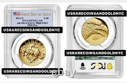 2021-w $100 Gold. 9999 Fine American Liberty High Relief Fdi Flag Pcgs Pr70 Dcam