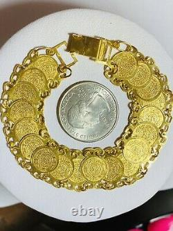 21K 875 Fine Real Solid Gold Real Womens Coin Bracelet 7.5 Long 16mm 14.35g
