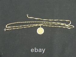 21K 875 Fine Yellow Gold Saudi Twisted Chain Link Necklace with 24K Coin Pendant