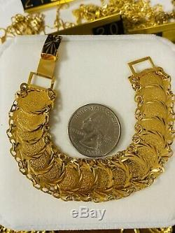 21K Yellow Gold Fine Coins Womens Bracelet Fits 7 Fits S/M 18mm 15.44gFREESHIP