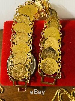 21K Yellow Gold Fine Coins Womens Bracelet Fits 7 Will Fits S/M 18mm 15.44g
