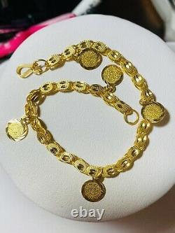 21K Yellow Gold Fine Womens Real Coin Bracelet 8 Long Fits Large 10.02g 4mm