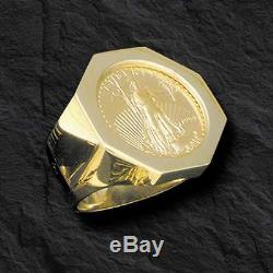 22K-14K FINE GOLD 1/2 OZ LADY LIBERTY COIN in 14k gold Ring