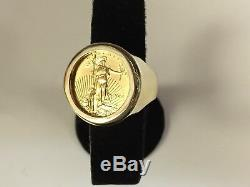 22K-14K FINE GOLD 1/4 OZ LADY LIBERTY COIN in 25 MM 14k gold Ring