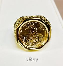 22k Fine Gold 1 10 Oz American Eagle Coin In14k Solid Yellow Gold 24mm Mens Ring