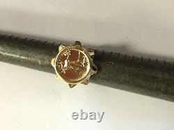 22K FINE GOLD 1/10 OZ LADY LIBERTY COIN in 14K LADIES Yellow Gold Ring