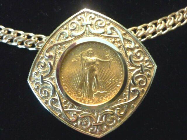 22k Fine Gold 1/10 Oz Lady Liberty 5 Dollar Coin Pendant Set In 14k Yg 8.4 Grams