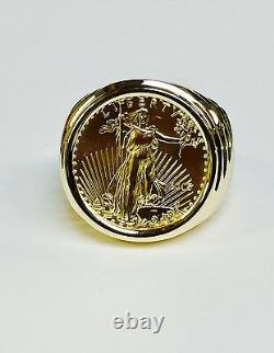22K FINE GOLD 1/4 OZ LADY LIBERTY COIN in Heavy 14k Solid Yellow Gold Ring