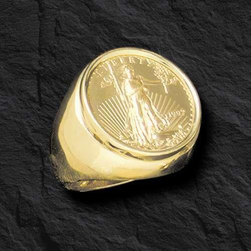 22k Fine Gold 1/4 Oz Us Liberty Coin In Heavy 14k Gold Ring 25 Mm