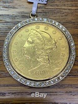 22K FINE GOLD 1 OZ LADY LIBERTY COIN -14K FRAME 1.15ct DIAMOND PENDANT P1167