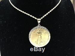 22K FINE GOLD 1 OZ LADY LIBERTY COIN with 14K GREEK KEY FRAME PENDANT