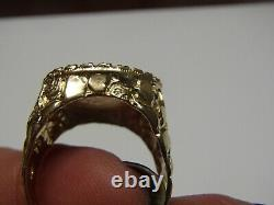 22K Fine Gold 1/10 OZ Liberty Coin 14K Gold Nugget & Emerald Chip Ring Size 10