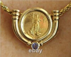 22K Fine Gold 1/10 oz. Liberty Coin with 14K Pendant Frame withTanzanite