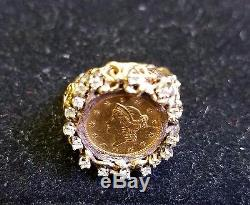 22K Fine Gold 1852 Liberty Head Gold Coin. 25 TCW diamonds 14k Gold Ring Jewelry