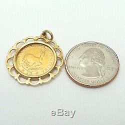 22K Gold 1976 1Rand Coin South Africa14k Frame Charm Pendant