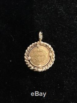 22K Gold Mexico Coin 1945 Dos Pesos 14K Frame Charm Pendant 3.6gr