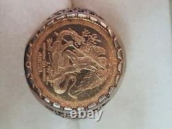 22ct fine Gold 1988 Isle of Man 1/20th Angel coin, set in 9ct gold ring