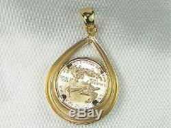 22k 1/10 Oz 1995 American Gold Eagle In 14k Yellow Gold Fine Bezel Pendant
