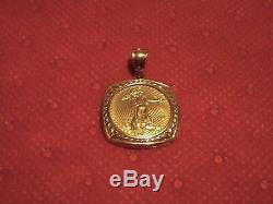 22k Fine Gold 1/10 Oz 2014 Lady Liberty Coin Pendant Set With Nice 14k Frame