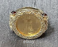 22k Fine Gold 1/10 Oz Us Liberty Coin In 14k Gold Ring With 4 Red Garnets-0.31oz