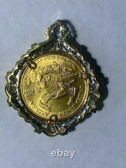 22k Fine Gold 1/4 Oz Lady Liberty Coin Set With -14k White Gold Frame Pendant