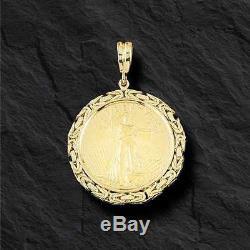 22k Fine Gold 1 Oz Lady Liberty Coin -14k Frame Byzantine Pendant