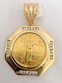 22k Fine Gold 1 Oz Lady Liberty Coin With 1 Ct. T. W. Diamonds 14k Frame Pendant